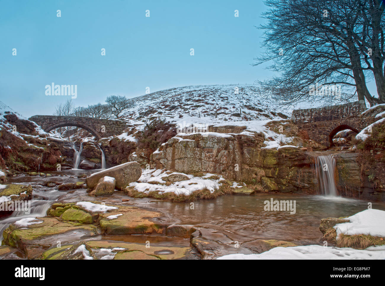 River Dane and Packhorse Bridge at Three Shire Heads-also known as Three Shires Head, near Flash, Peak District, Stock Photo