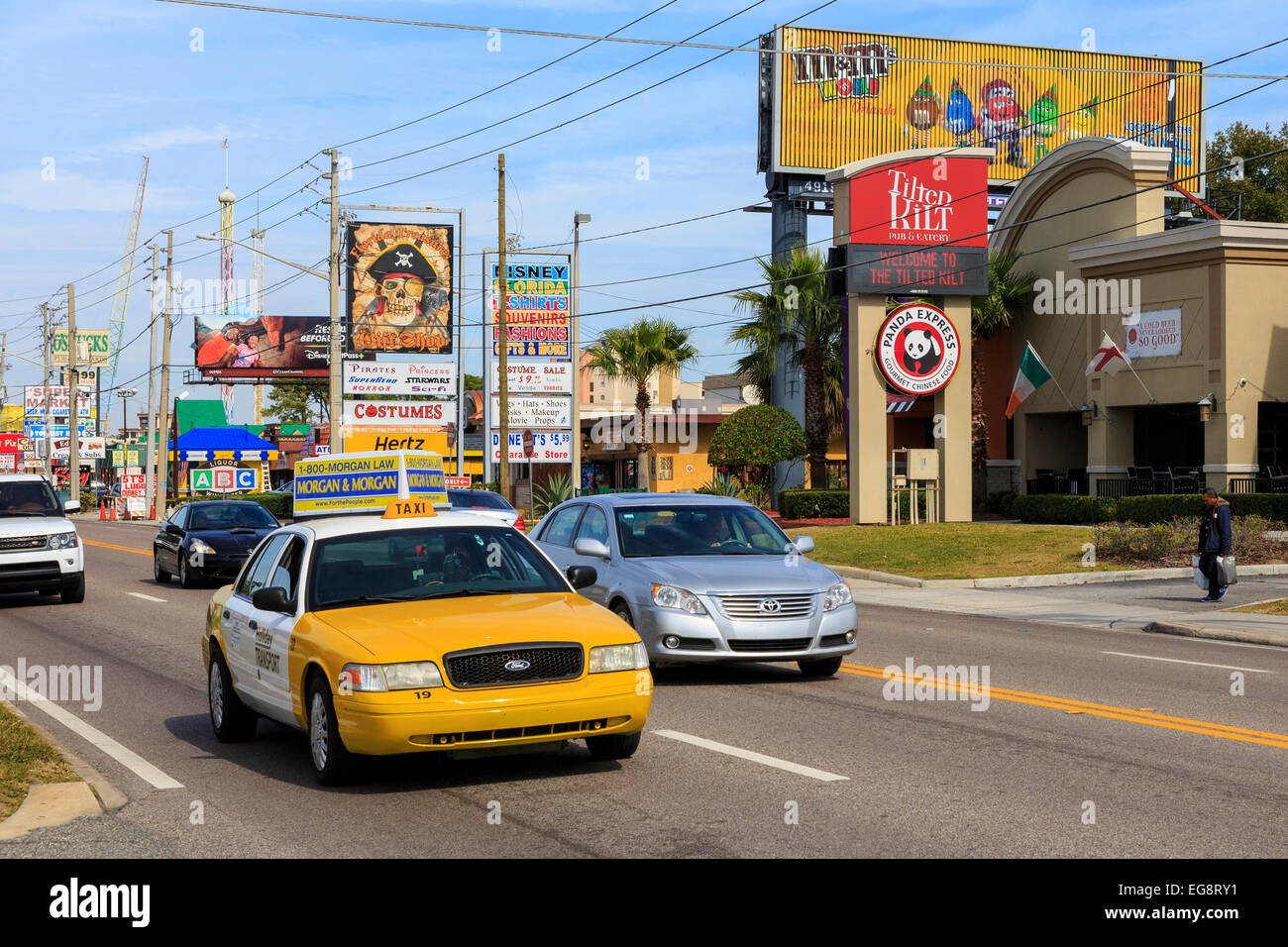 Traffic on International Drive, Orlando, Florida, USA - Stock Image