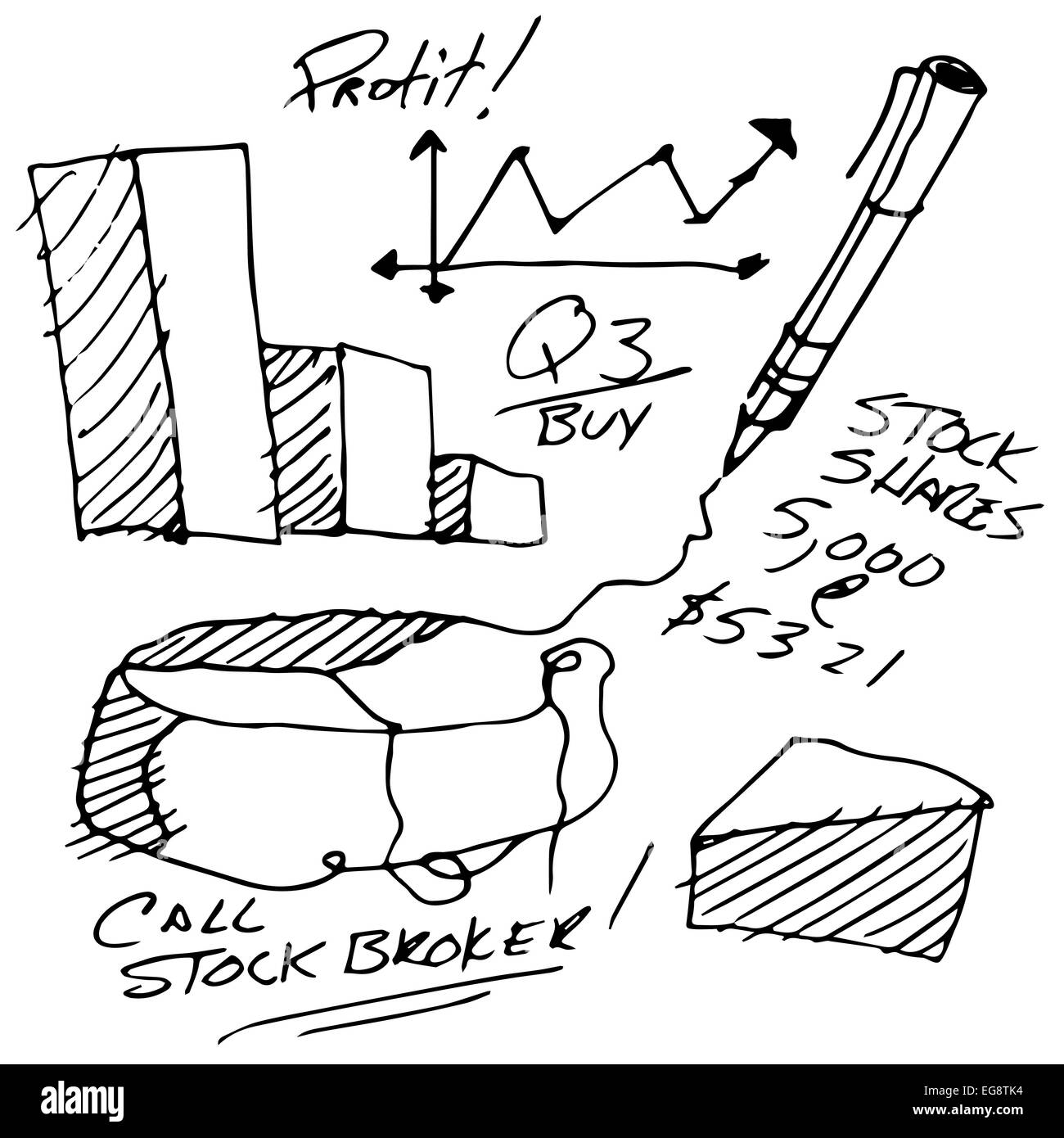 An image of stock market notes. - Stock Image