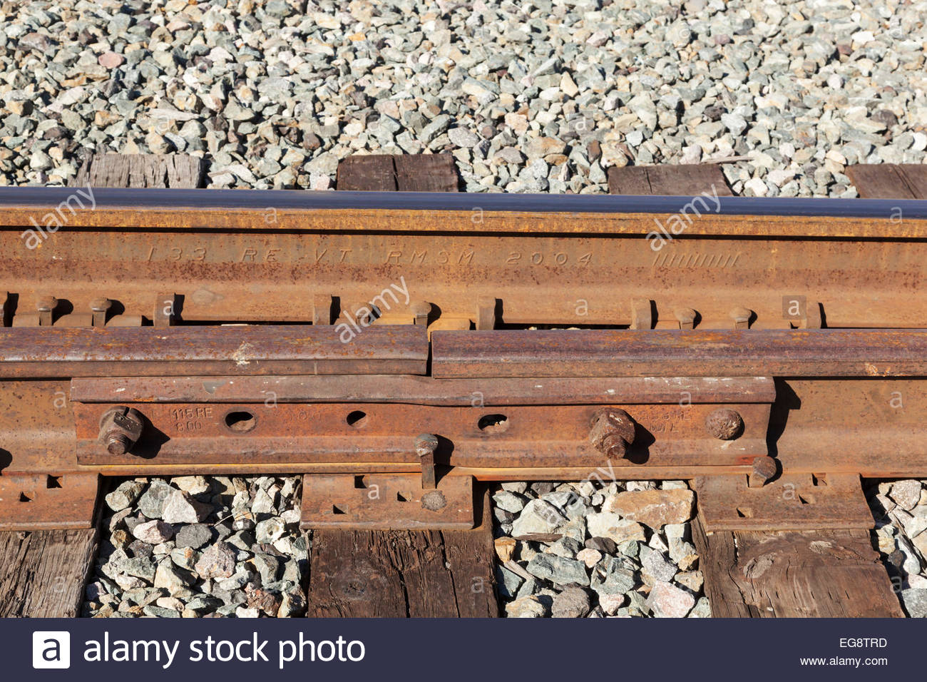 Fishplate on railroad rail Stock Photo: 78871057 - Alamy