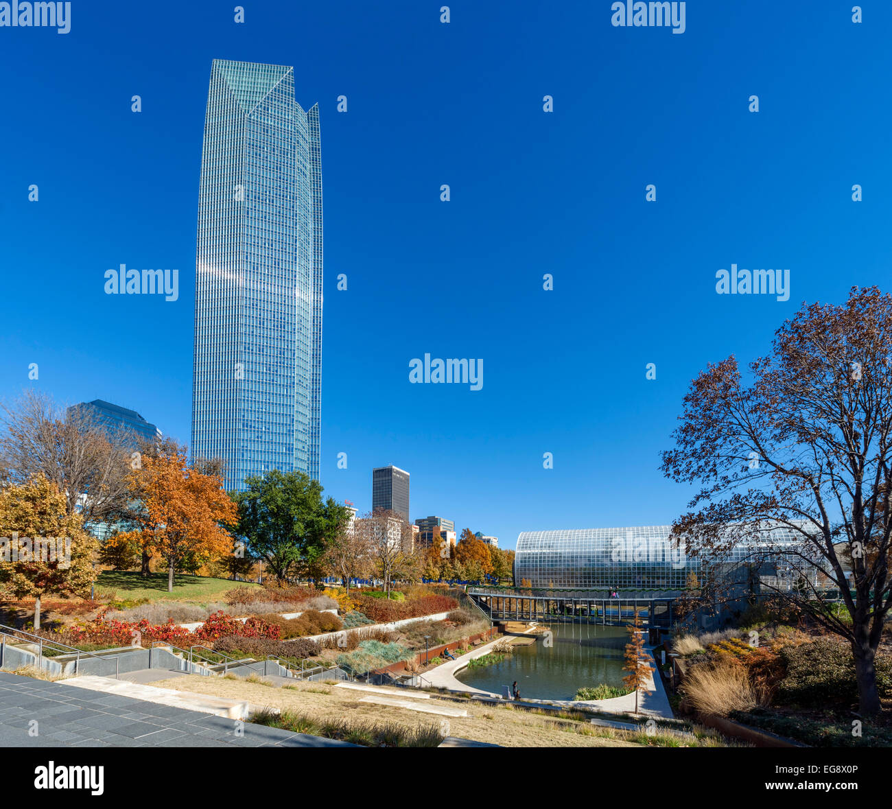 Downtown and the Devon Tower from the Myriad Botanical Gardens with the Crystal Bridge on right, Oklahoma City, - Stock Image