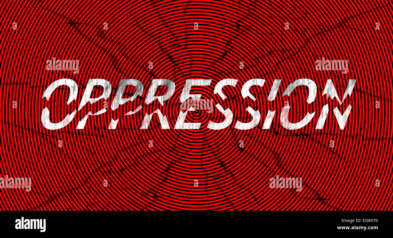 Word oppression broken in pieces, in grungy style - a concept of breaking down oppression - Stock Image