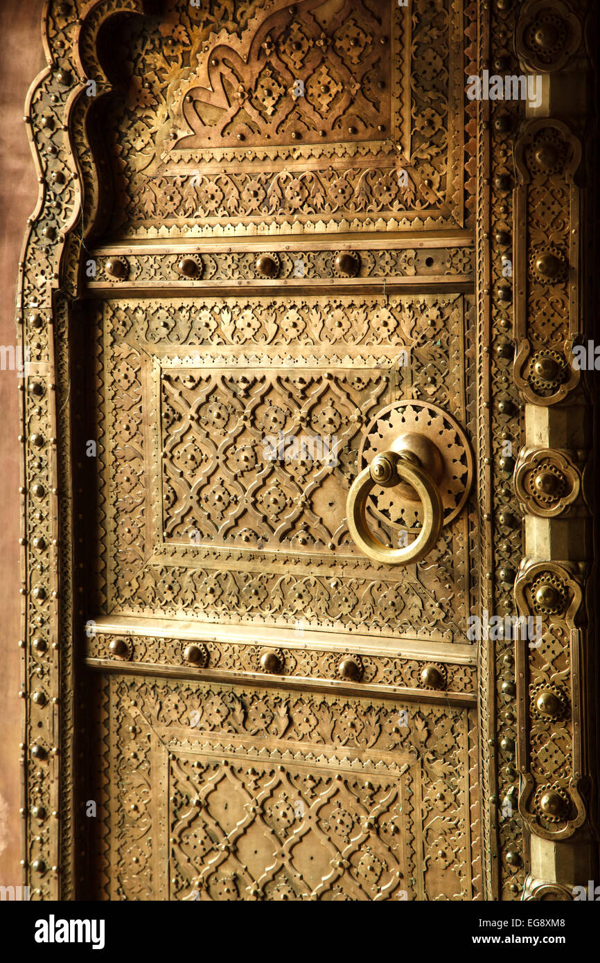 Elaborate door, City Palace, Jaipur, Rajasthan, India - Stock Image