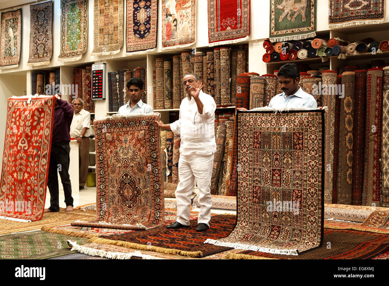 Carpet salesman in showroom, Jaipur, Rajasthan, India - Stock Image