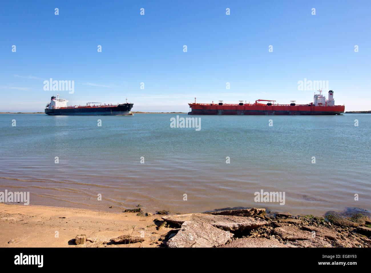 Petroleum Tankers en route, Corpus Christi Ship Channel. - Stock Image