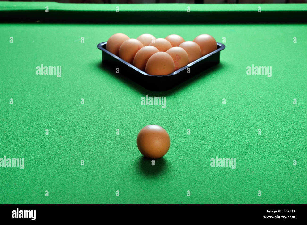 Eggs on snooker table - Stock Image