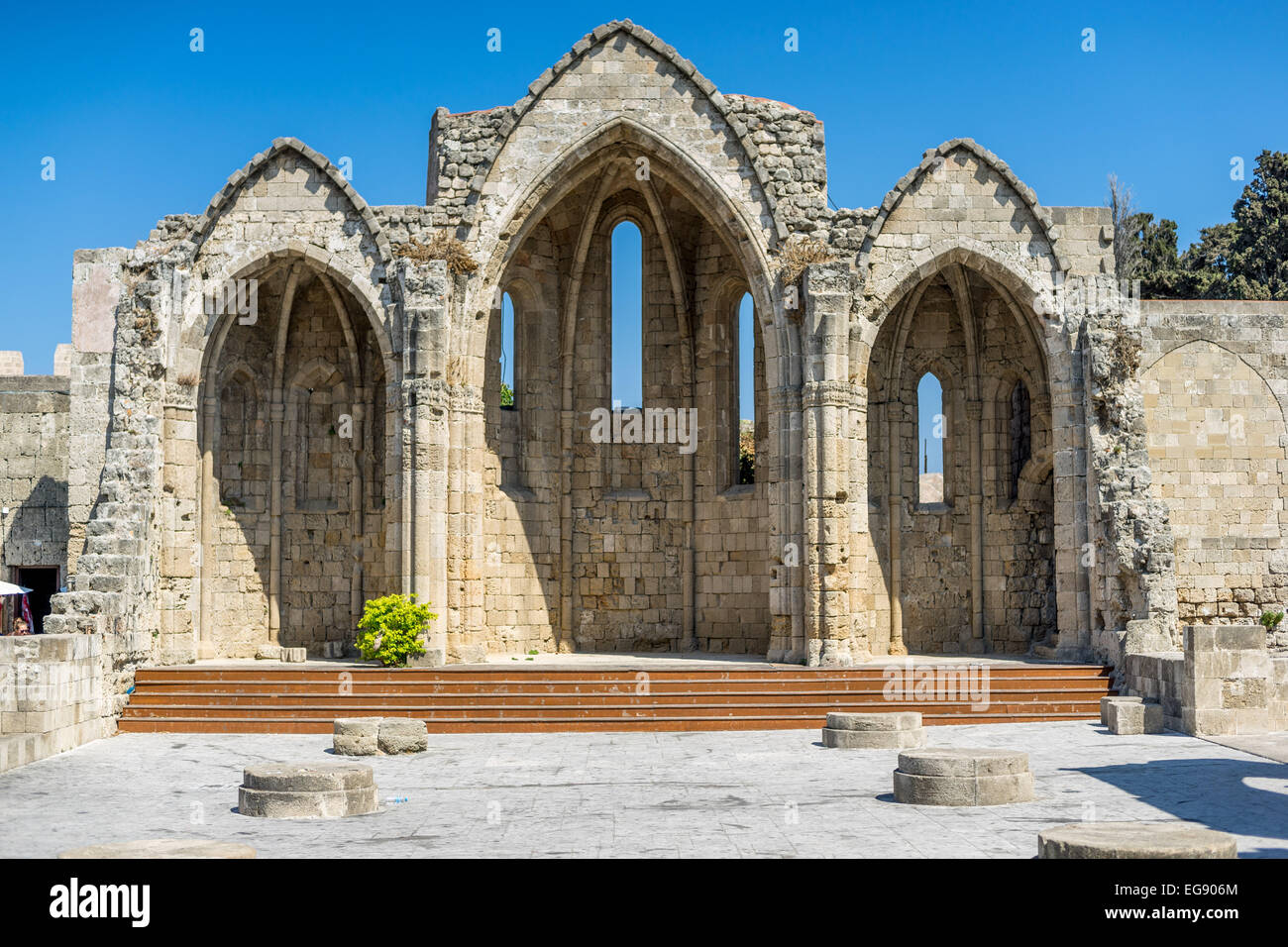 Church of the Virgin of  the Burgh Rhodes Rodos - Stock Image
