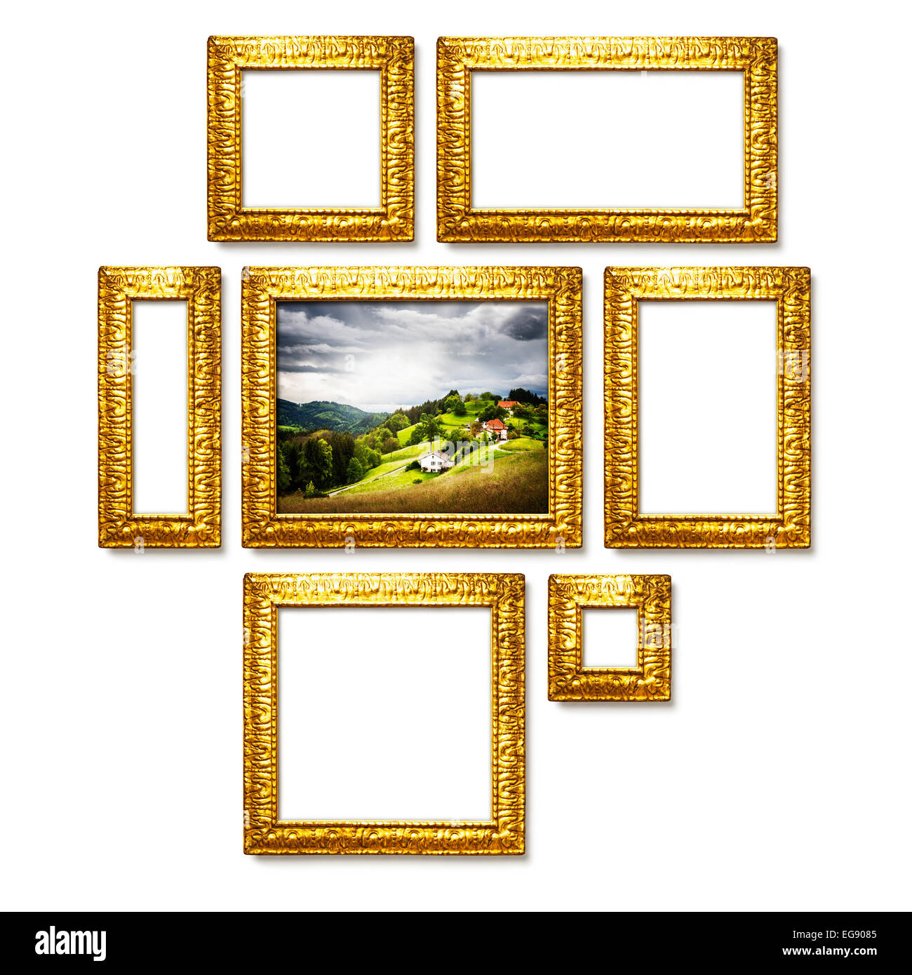 Antique golden frames collection on white background. Gallery wall ...