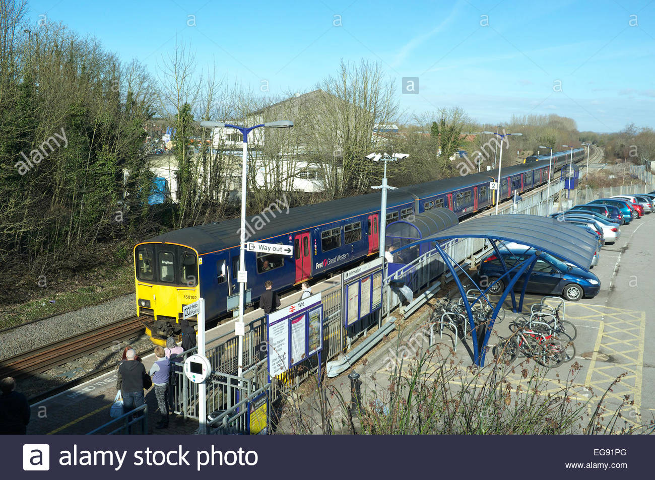A Great Malvern to Brighton train service calls at Yate railway station (near Bristol), in South Gloucestershire, - Stock Image