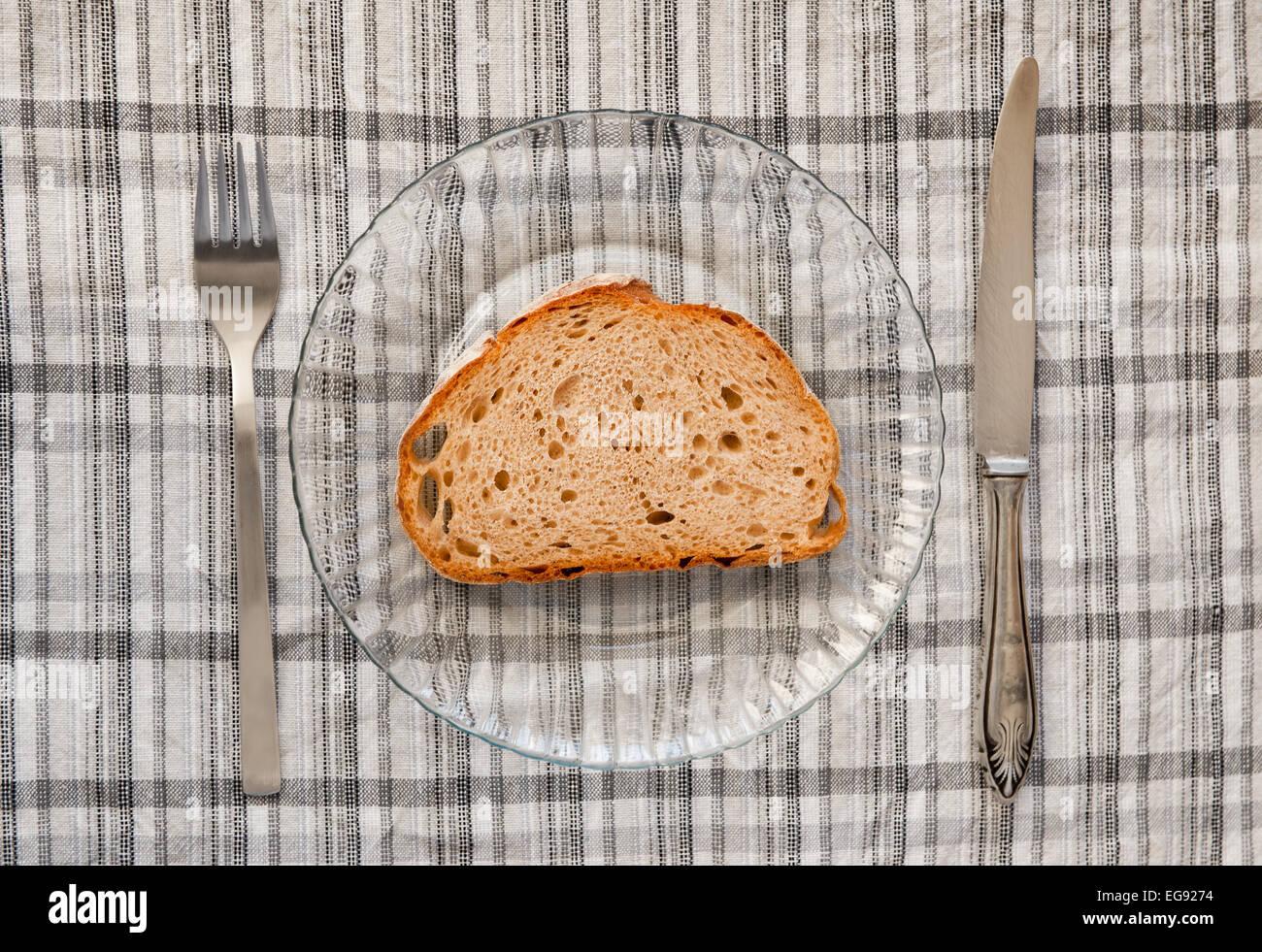Bread slice poor meal - Stock Image