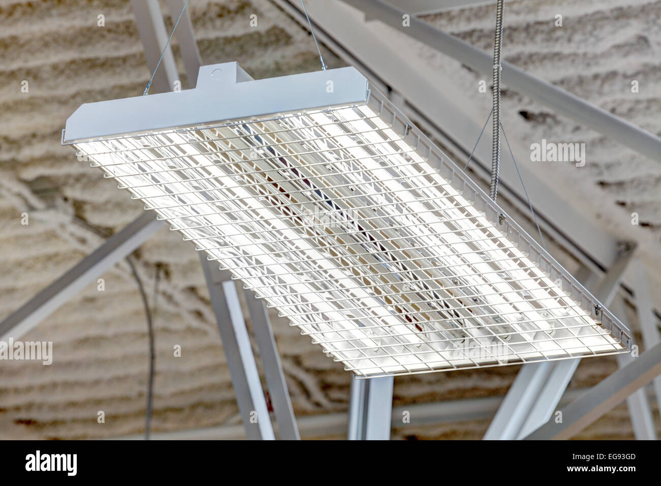 A high intensity fluorescent light fixture in a commercial setting ...