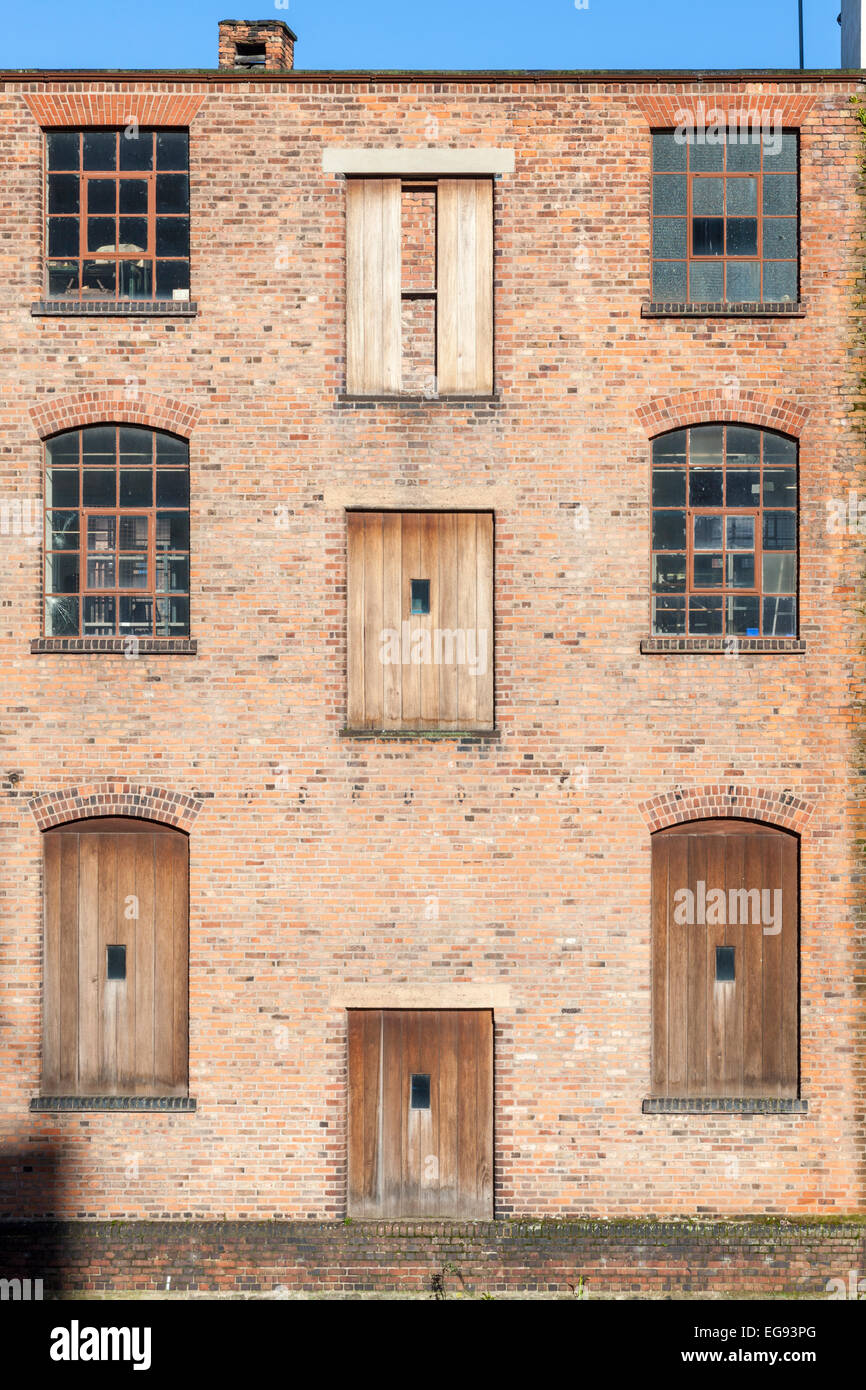 Doors And Windows Of A Victorian Canal Warehouse Building, Nottingham,  England, UK