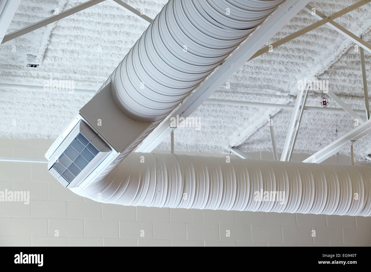 Duct Work In A Modern Commercial Hvac System Stock Photo