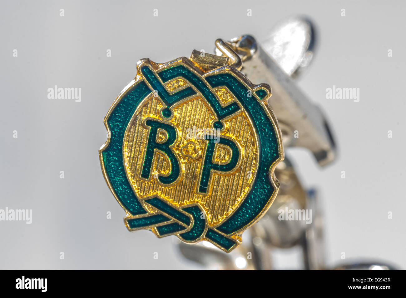 BP badge (Baden Powell or Be Prepared)  Boy Scout and Girl Guide badge - Stock Image