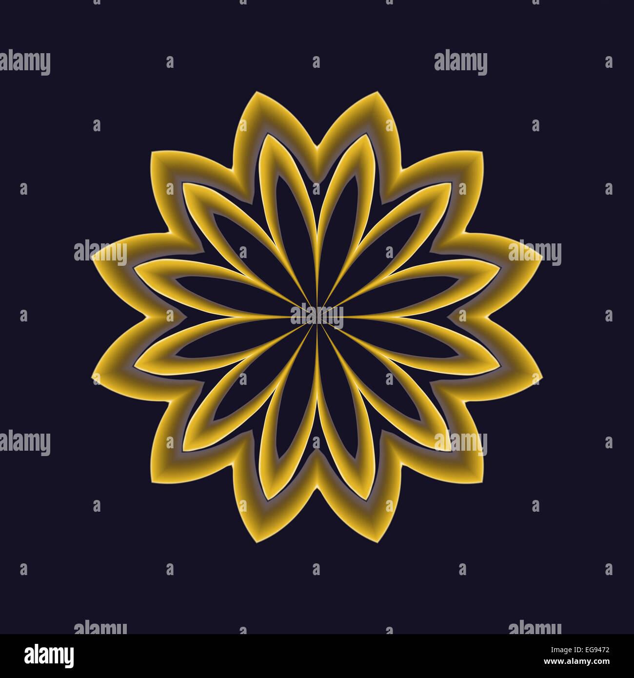 Abstract Gold Flower On Dark Blue Background