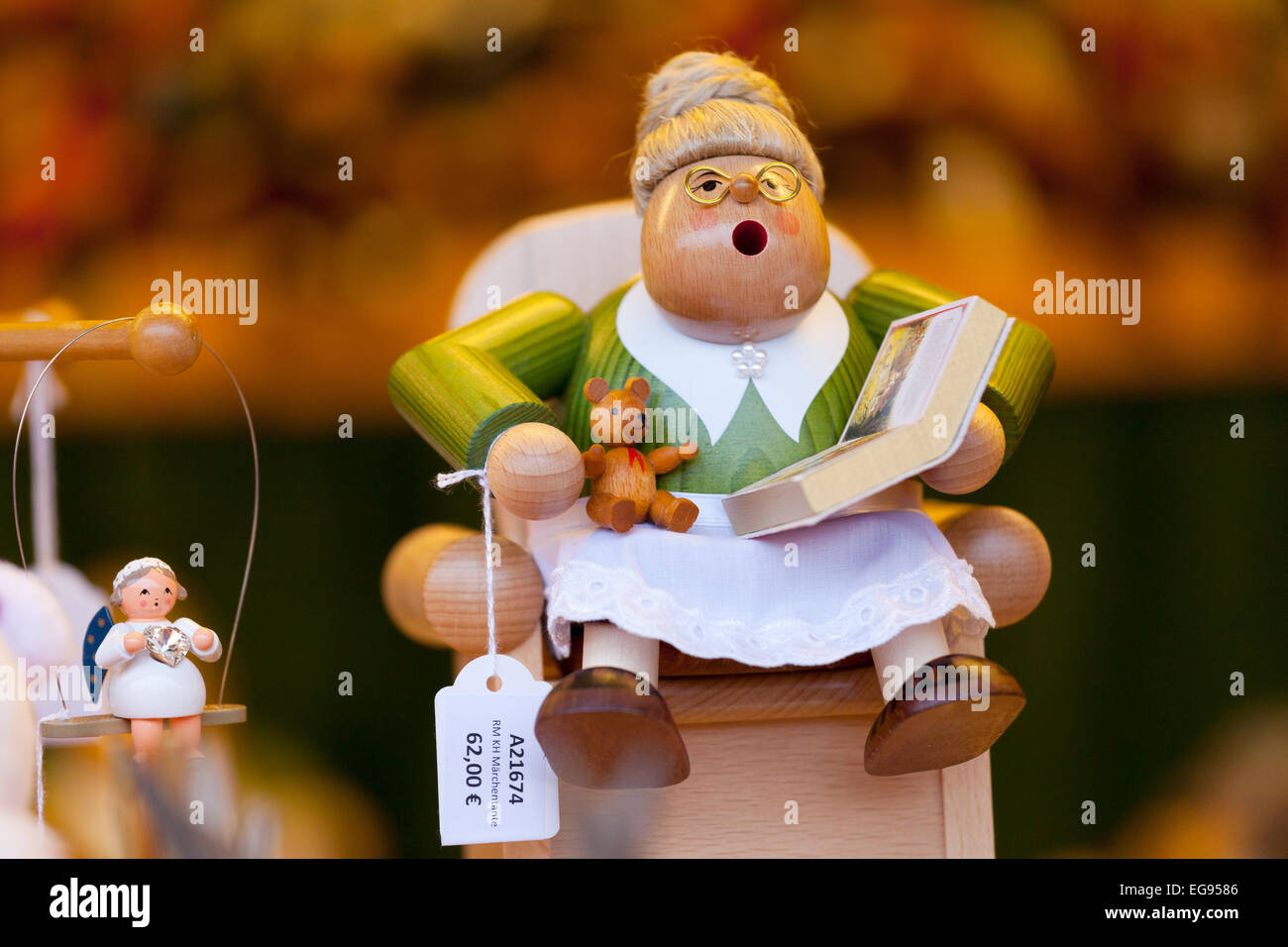 Wooden Christmas Decoration at the Dresden Strietzelmarkt Christmas Market, Dresden, Germany - Stock Image