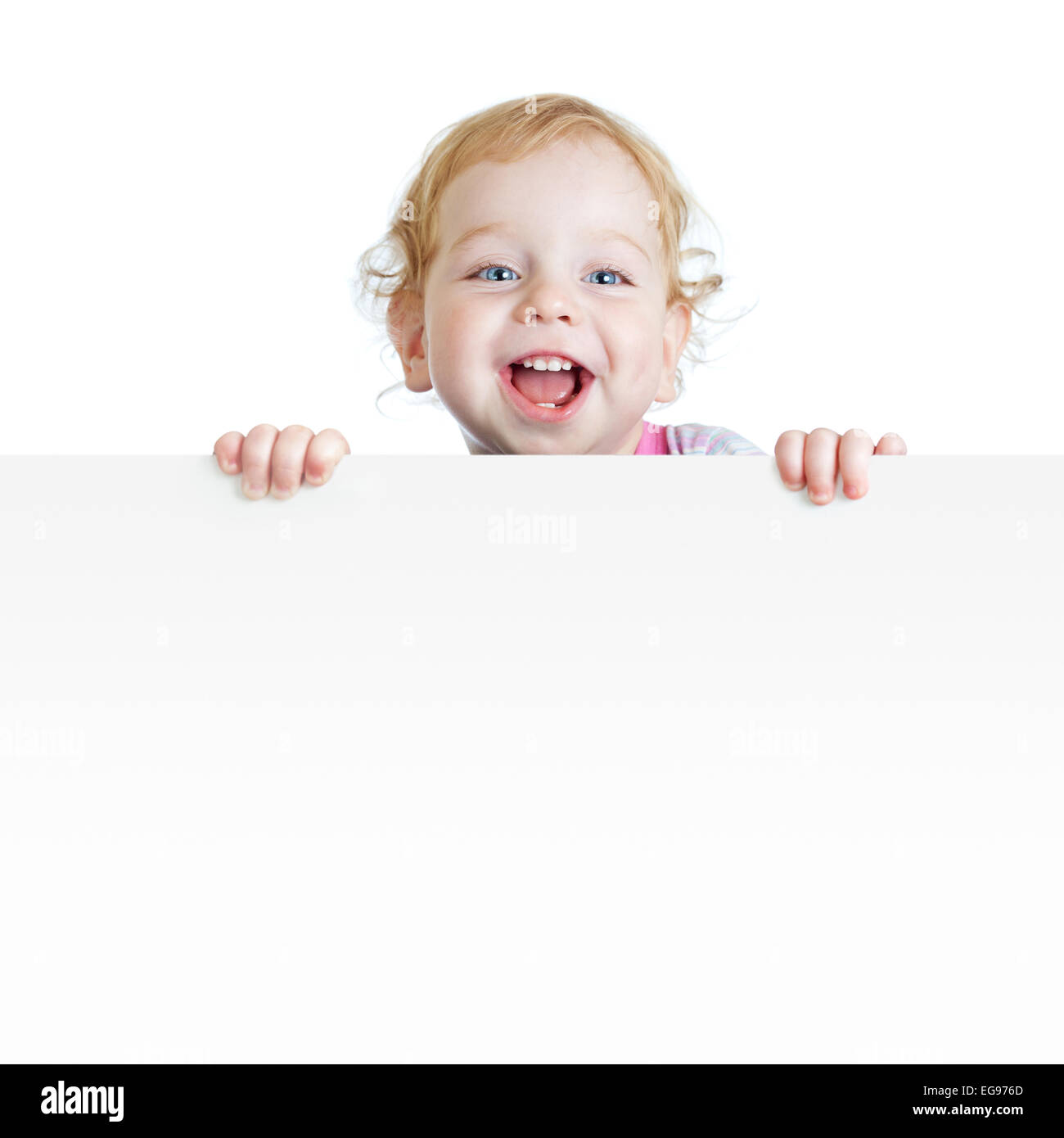 Baby boy showing blank placard with copy space isolated - Stock Image