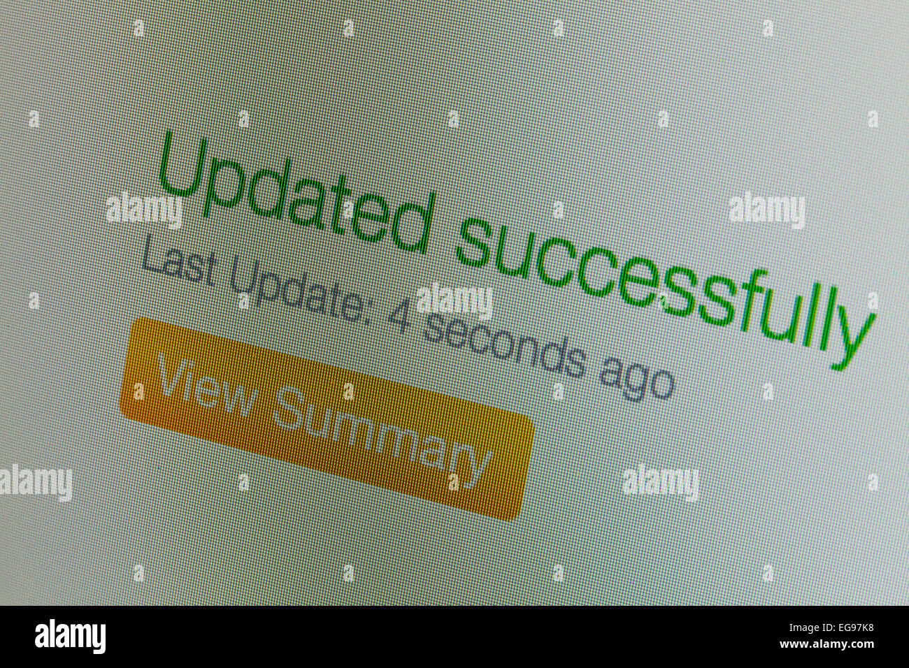 Updated successfully message on LCD computer screen Stock Photo