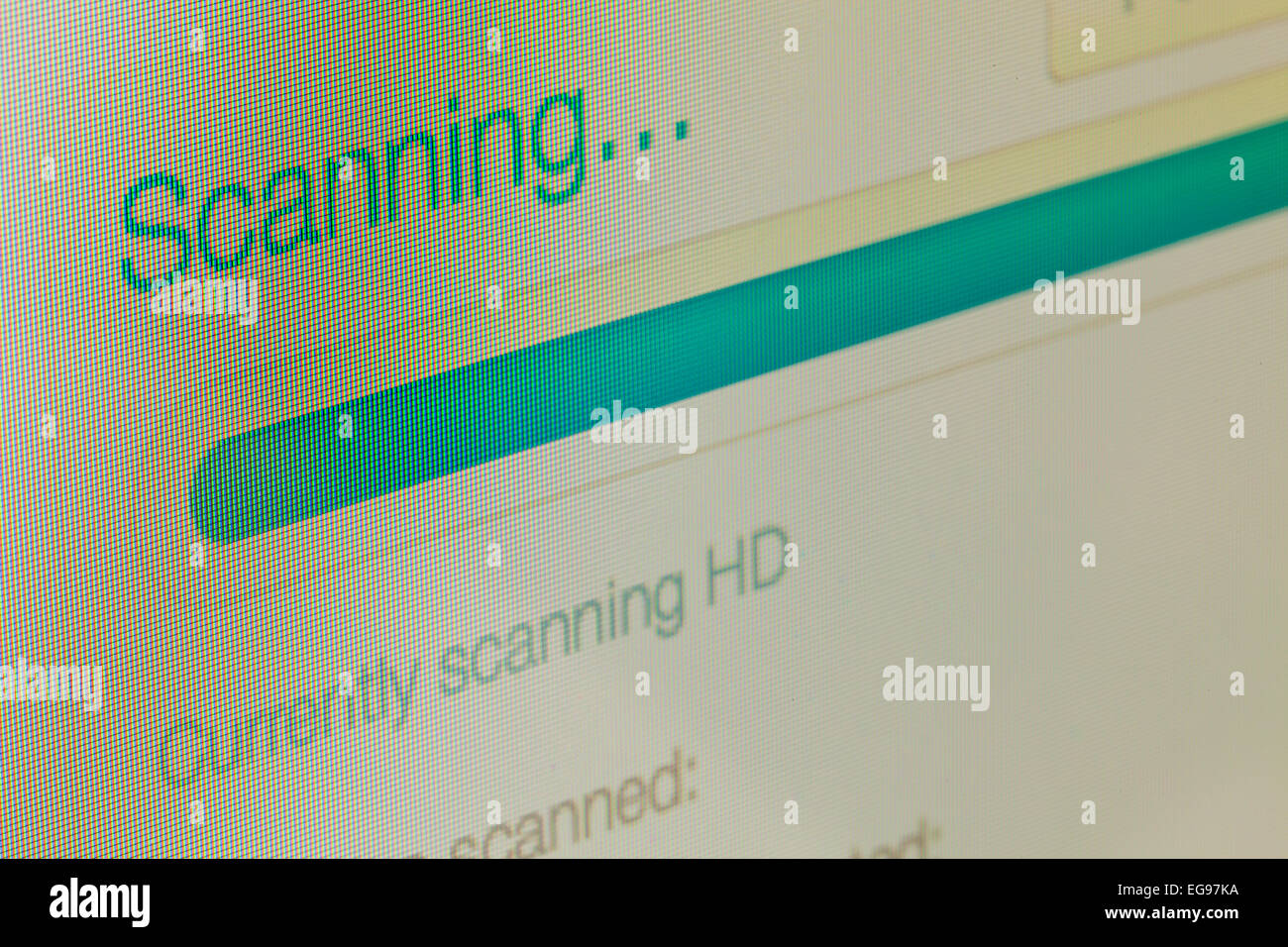 Anti Virus scanning message on LCD computer screen - Stock Image