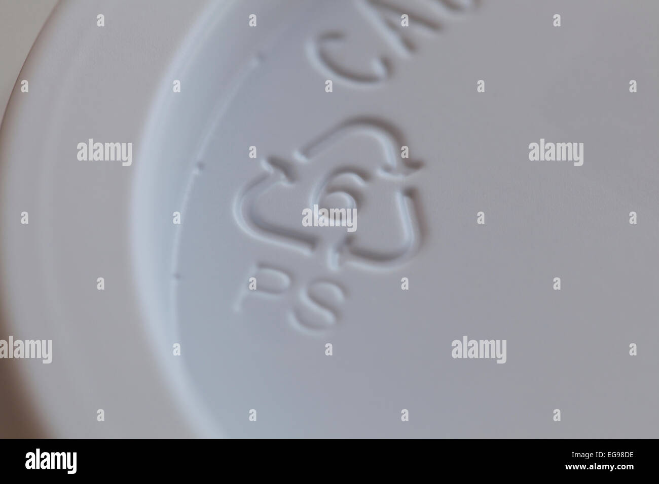 Number 6 recycling symbol on coffee cup lid - USA - Stock Image