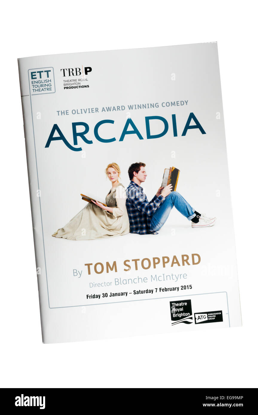 Programme for the 2015 production of Arcadia by Tom Stoppard at the Theatre Royal, Brighton. Directed by Blanche - Stock Image