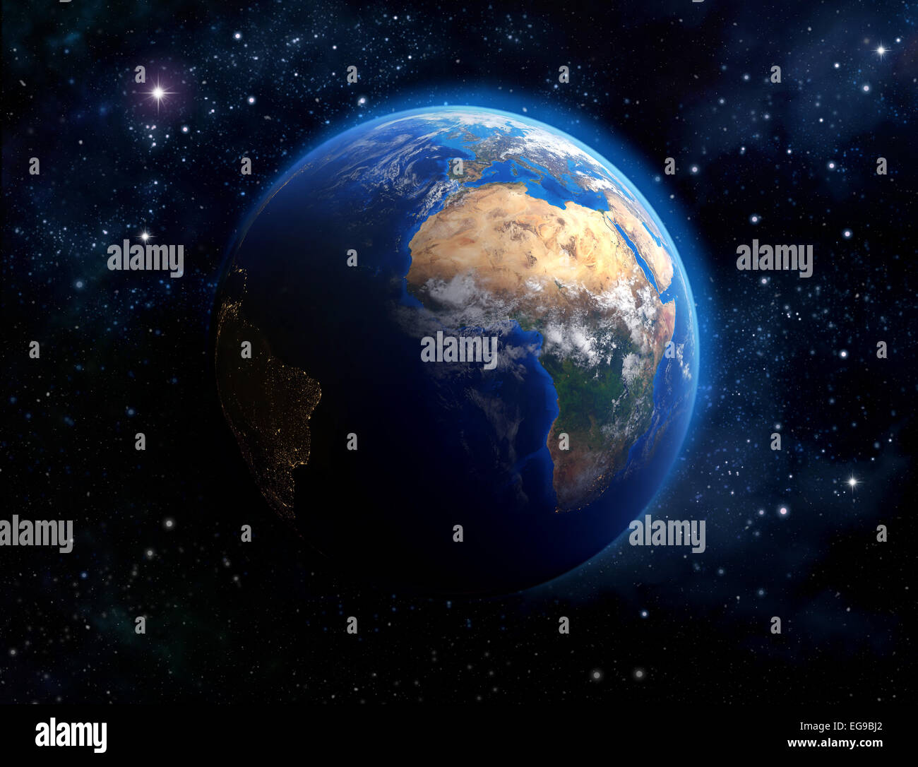 Face of the Earth. Imaginary view of planet earth in outer space. Elements of this image furnished by NASA - Stock Image