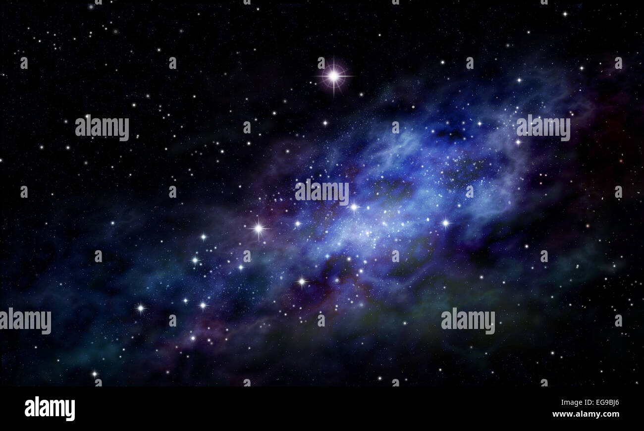 Stars constellation in night sky. Imaginary background of deep space and star field - Stock Image