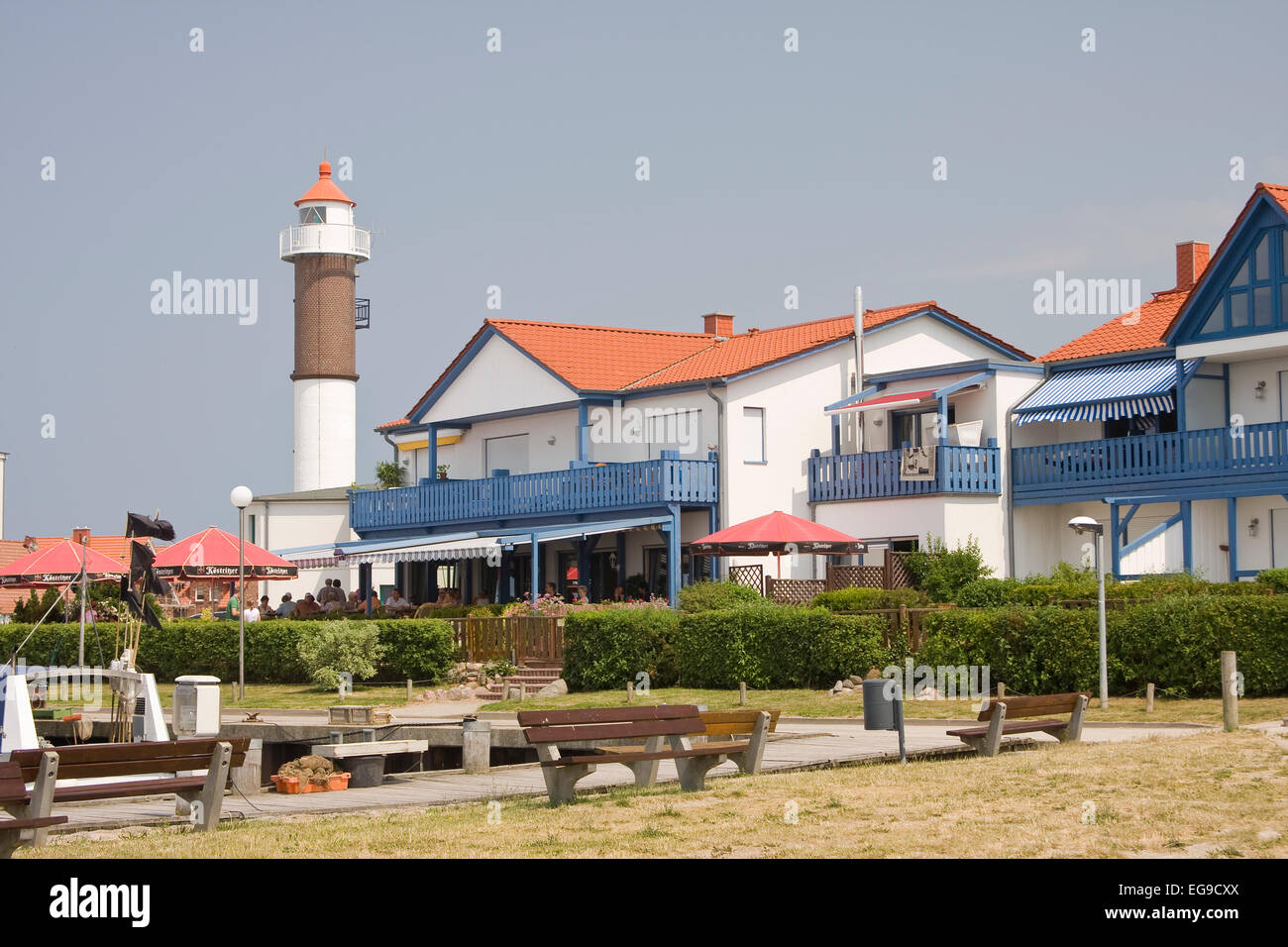 Port of Timmendorf , with lighthouse island of Poel, Mecklenburg-Western Pomerania, Germany, Europe Stock Photo