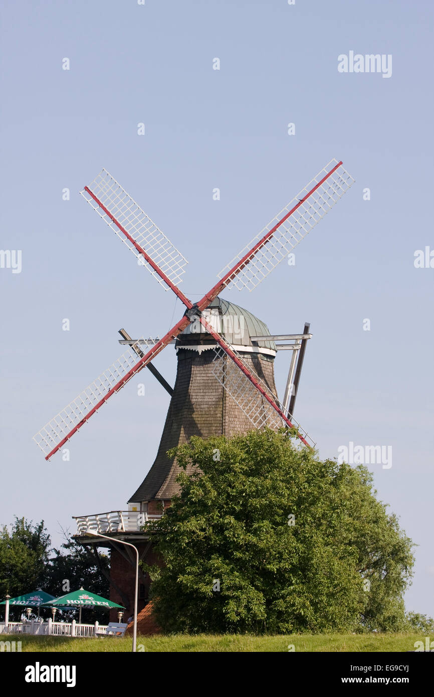 Windmill Aurora in Borstel, Altes Land, Lower Saxony, Northern Germany, Germany, Europe - Stock Image