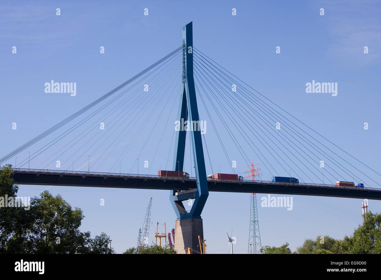 Köhlbrand bridge, Hamburg, Germany, Europe Stock Photo