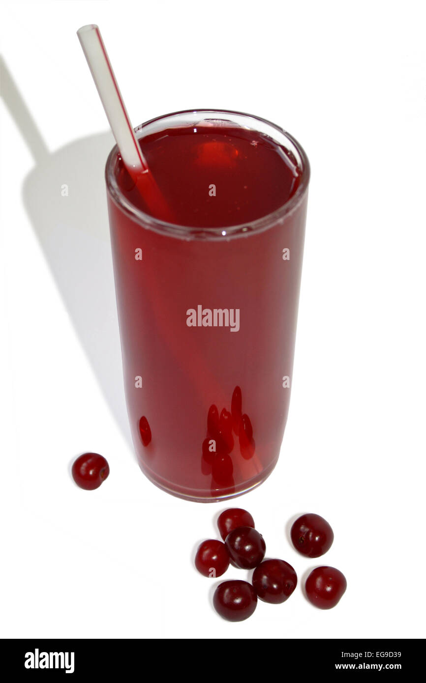 High glass with cherry juice. - Stock Image
