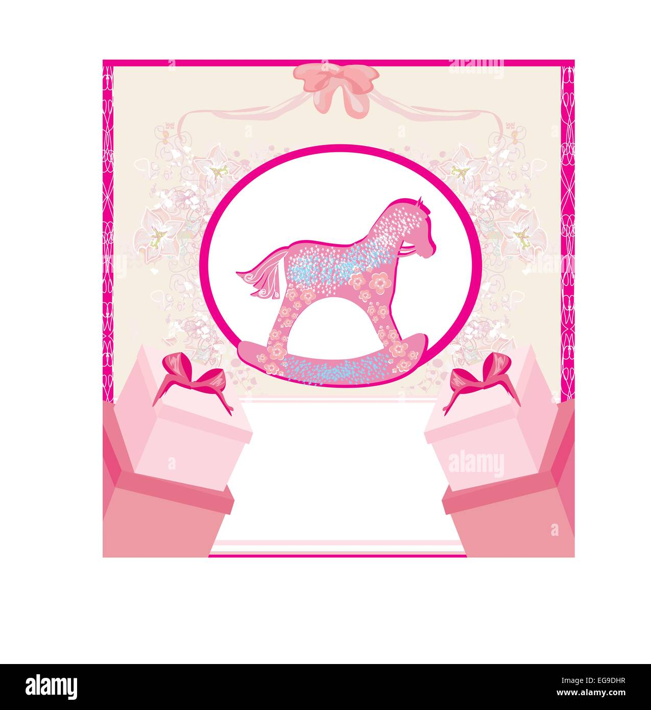 Rocking Horses - baby girl baby shower invitation card Stock Vector ...