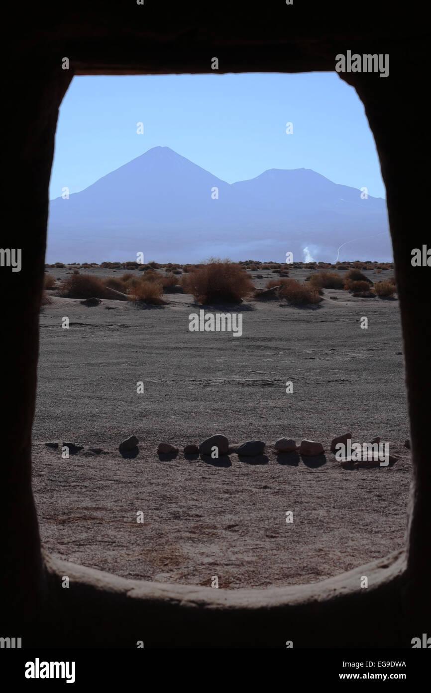 View of desert from inside of prehistoric house, Atacama Desert, Chile Stock Photo