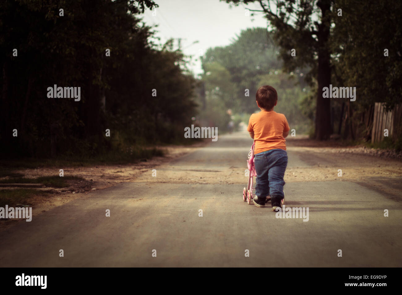 Rear view of boy pushing cart - Stock Image