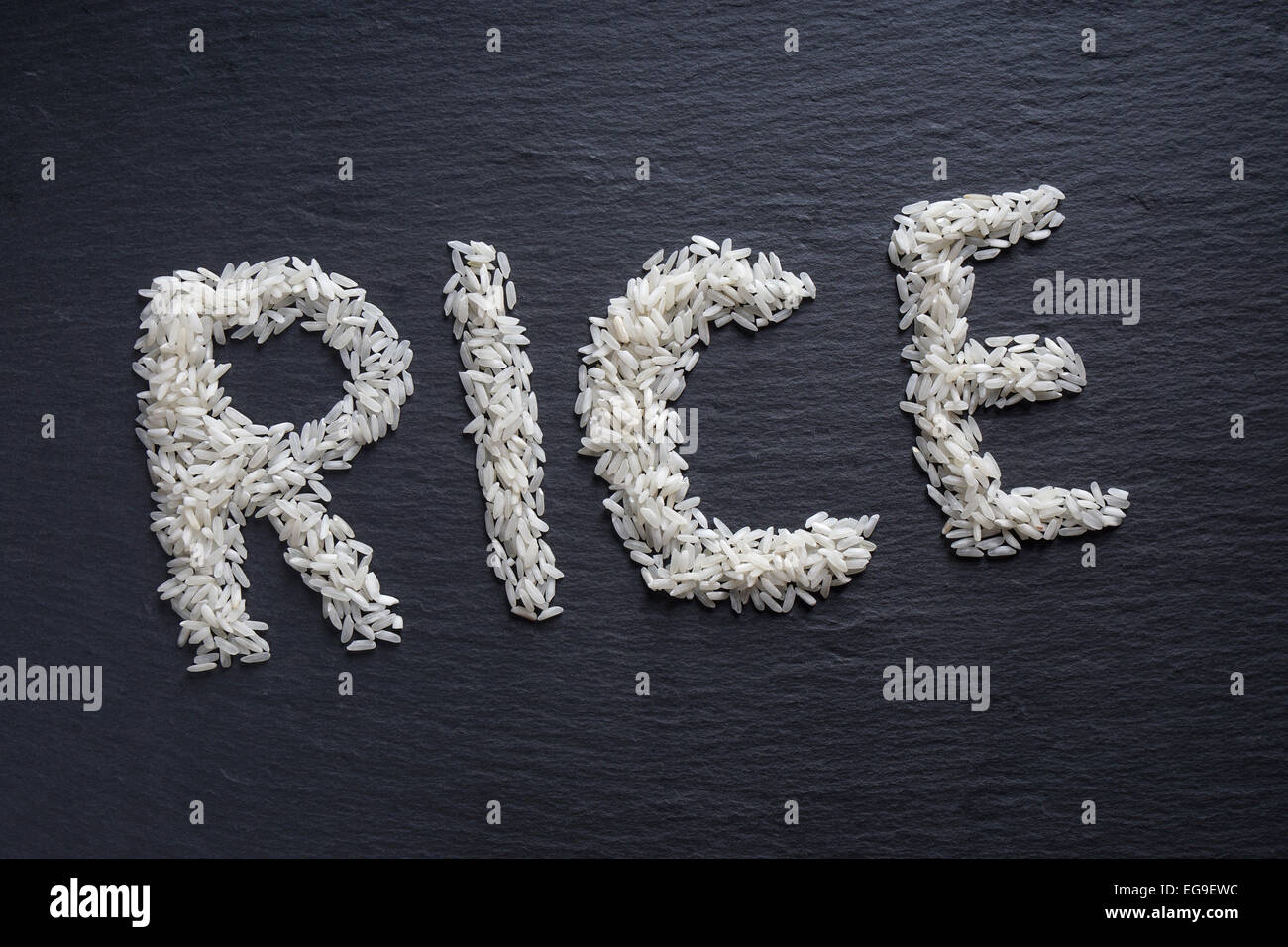 rice spelled out - Stock Image