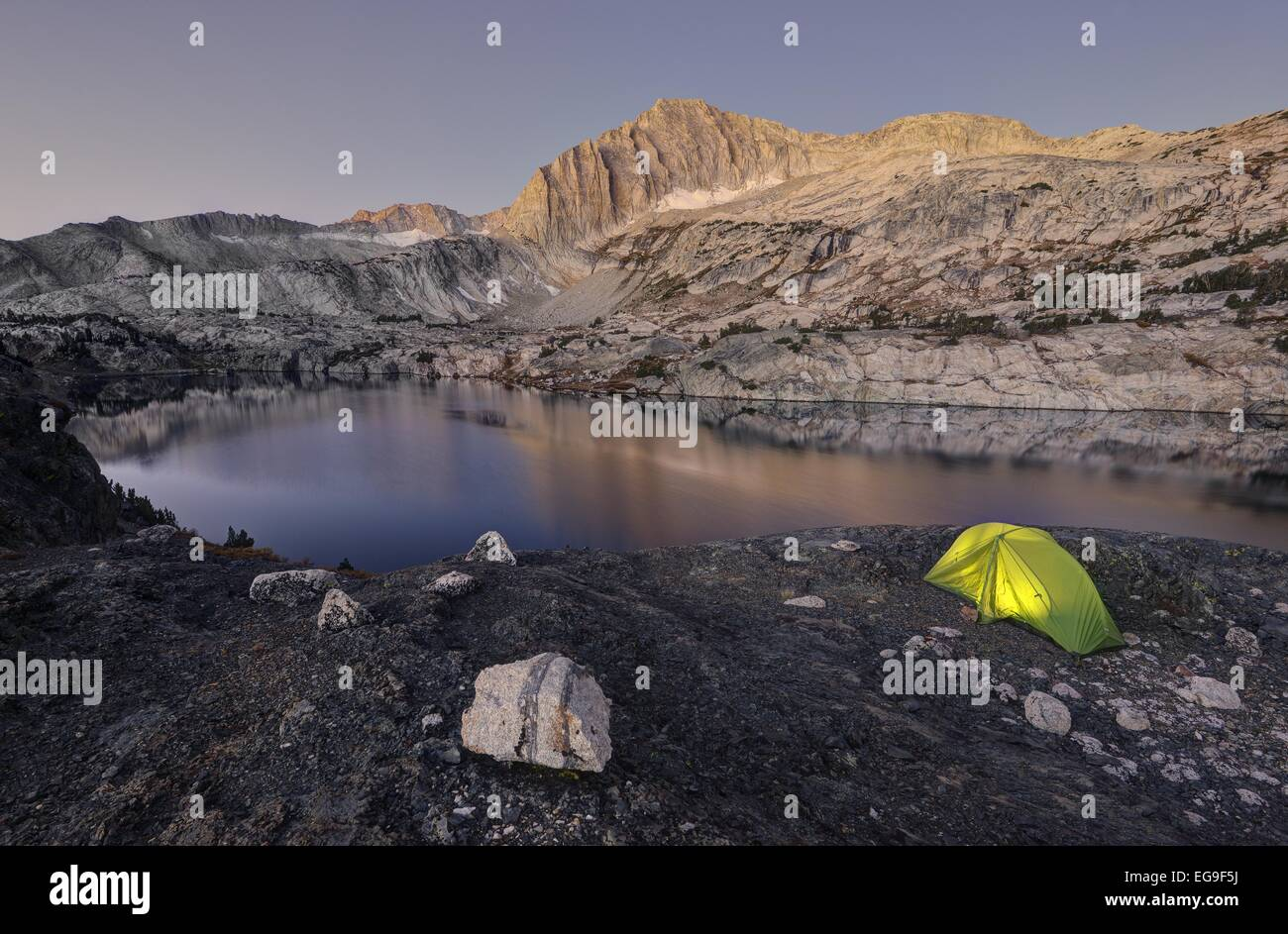 USA, California, Inyo National Forest, Camping by Steelhead Lake - Stock Image