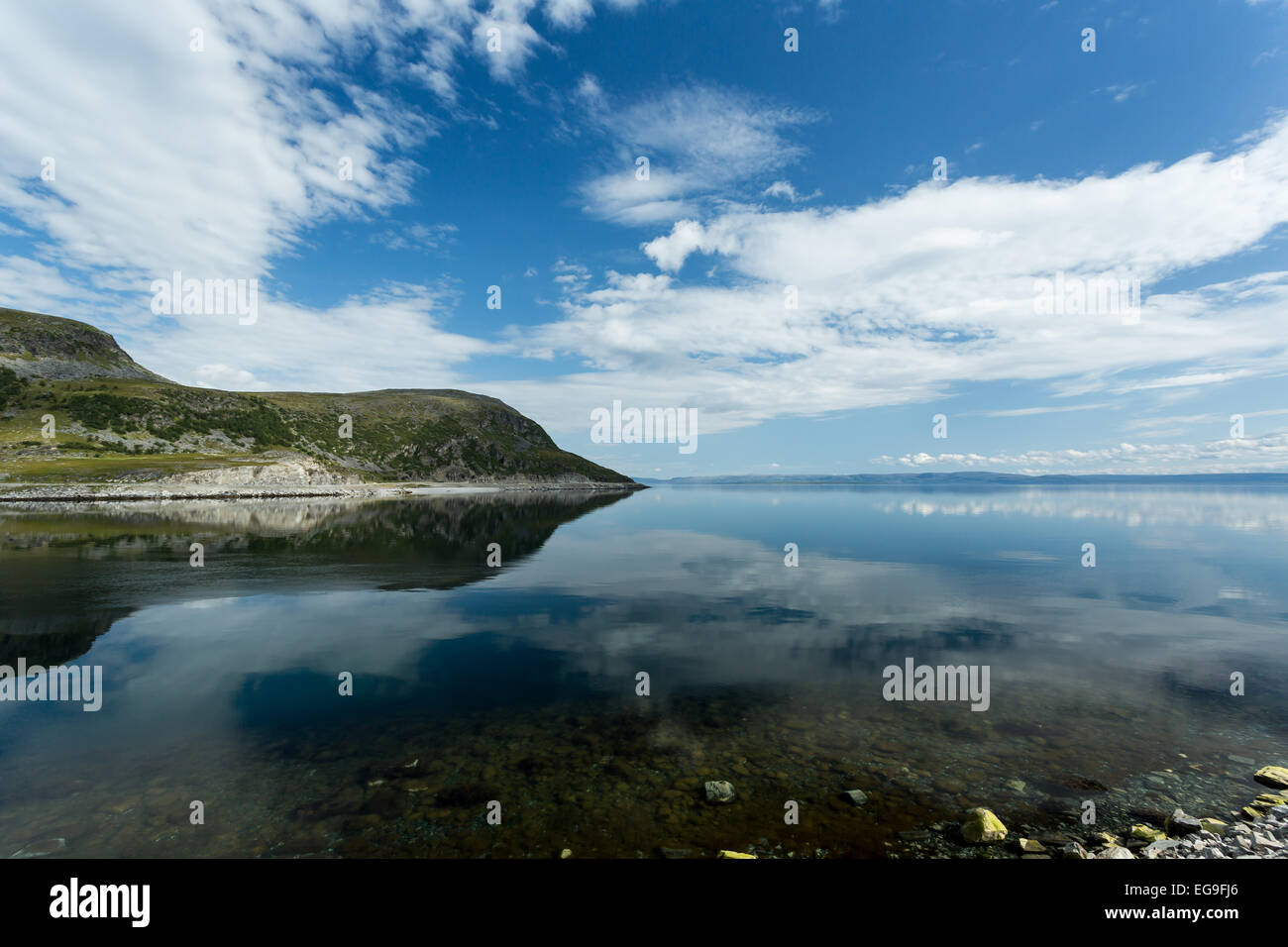 Norway, Finnmark, Norge, View of tranquil fjord - Stock Image
