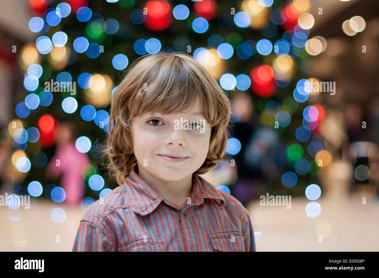 Portrait of blond boy (6-7) - Stock Image