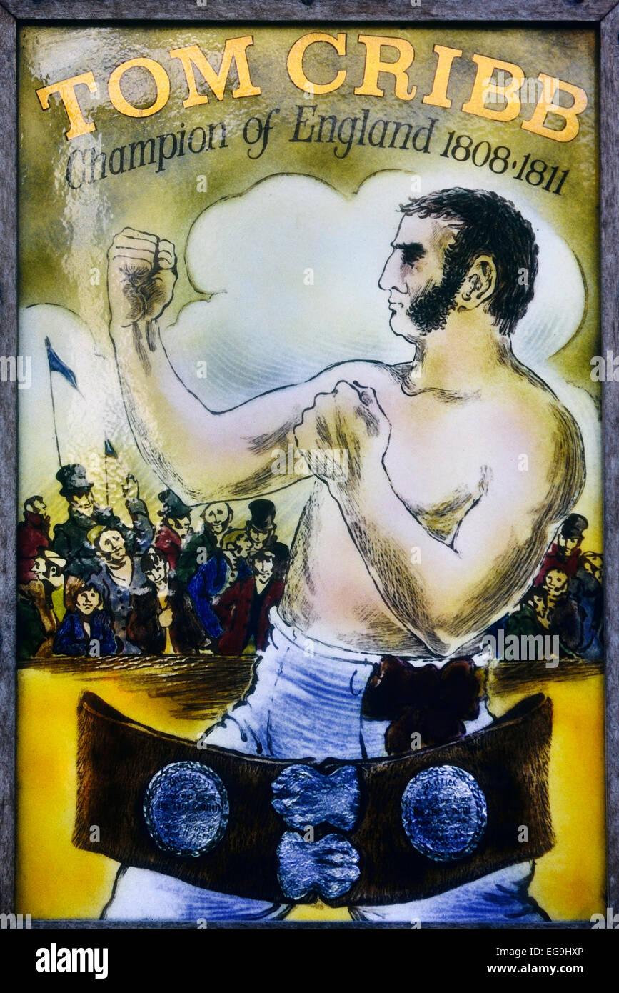 Boxing champion 'Tom Cribb' pub sign. London. UK - Stock Image