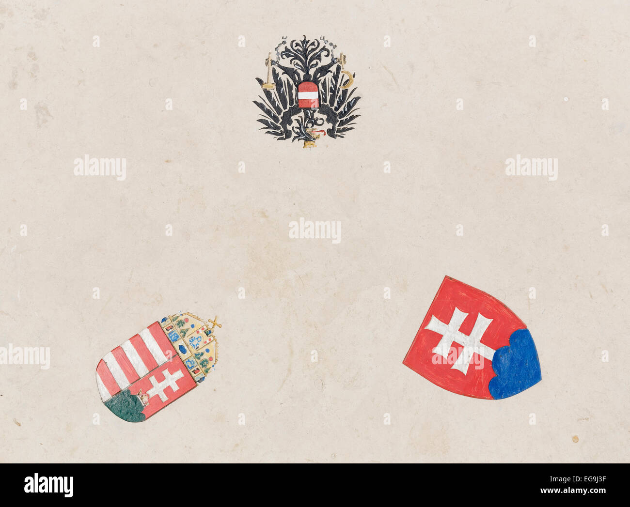 Three coats of arms of countries in the border triangle of Austria - Hungary - Slovakia, Northern Burgenland, Burgenland - Stock Image