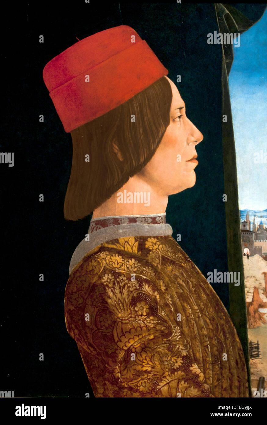Giovanni II Bentivoglio  and his wife Ginevera Roberti 1480, by Ercole de' Roberti.  ( Roberti Bentivoglio 1443 - Stock Image