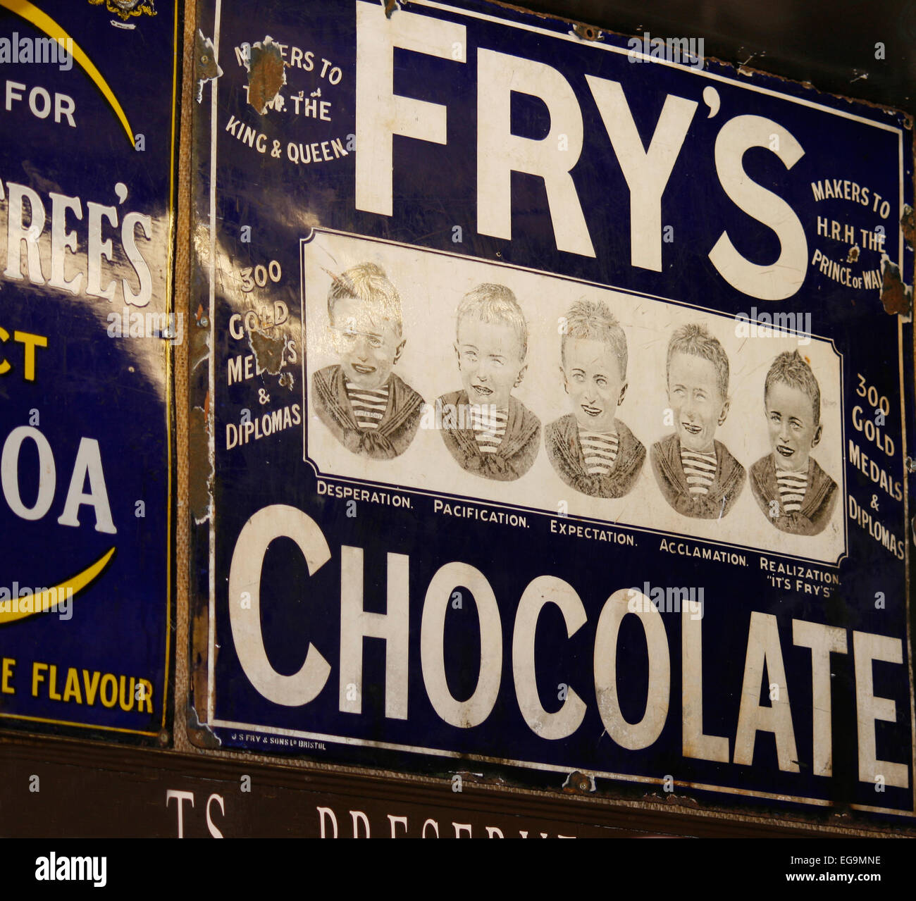 Vintage Metal Sign Advertising Frys Five Boys Chocolate At