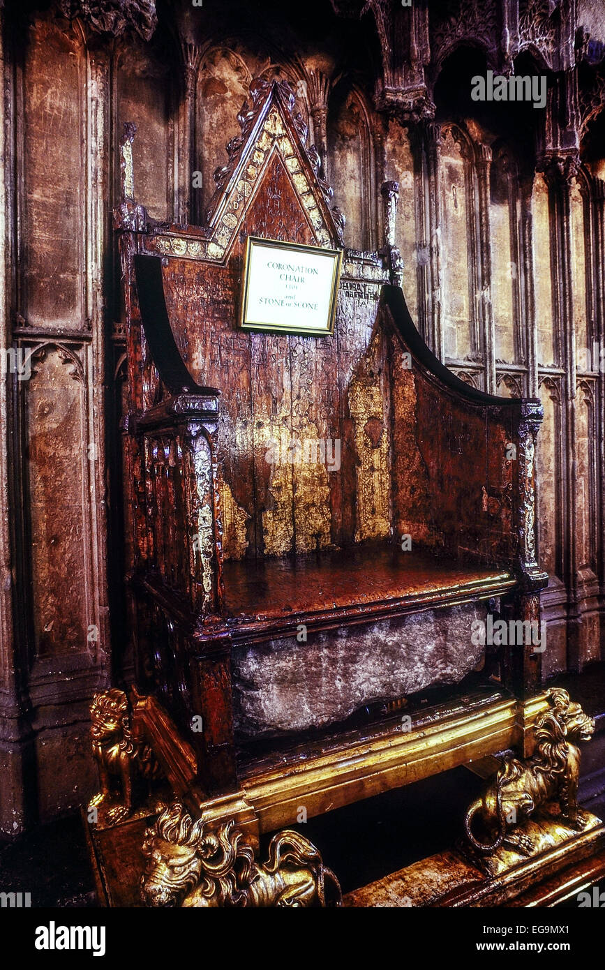 Coronation Chair and Stone of Scone. Westminster Abbey. London. UK - Stock Image