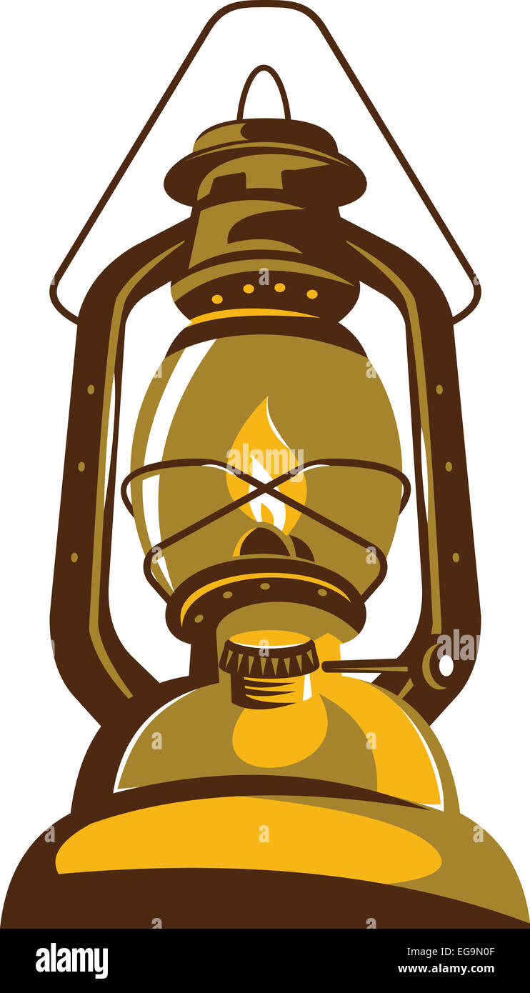 Illustration of a kerosene oil lamp viewed from front low angle retro style on isolated white background. - Stock Image