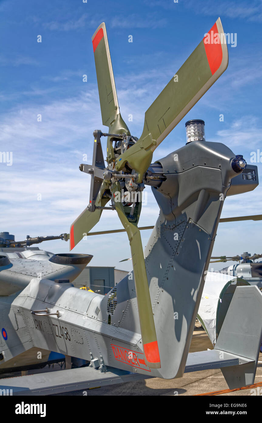 Close-up of the tail rotor on an AgustaWestland AW159 Wildcat HM2 helicopter Stock Photo