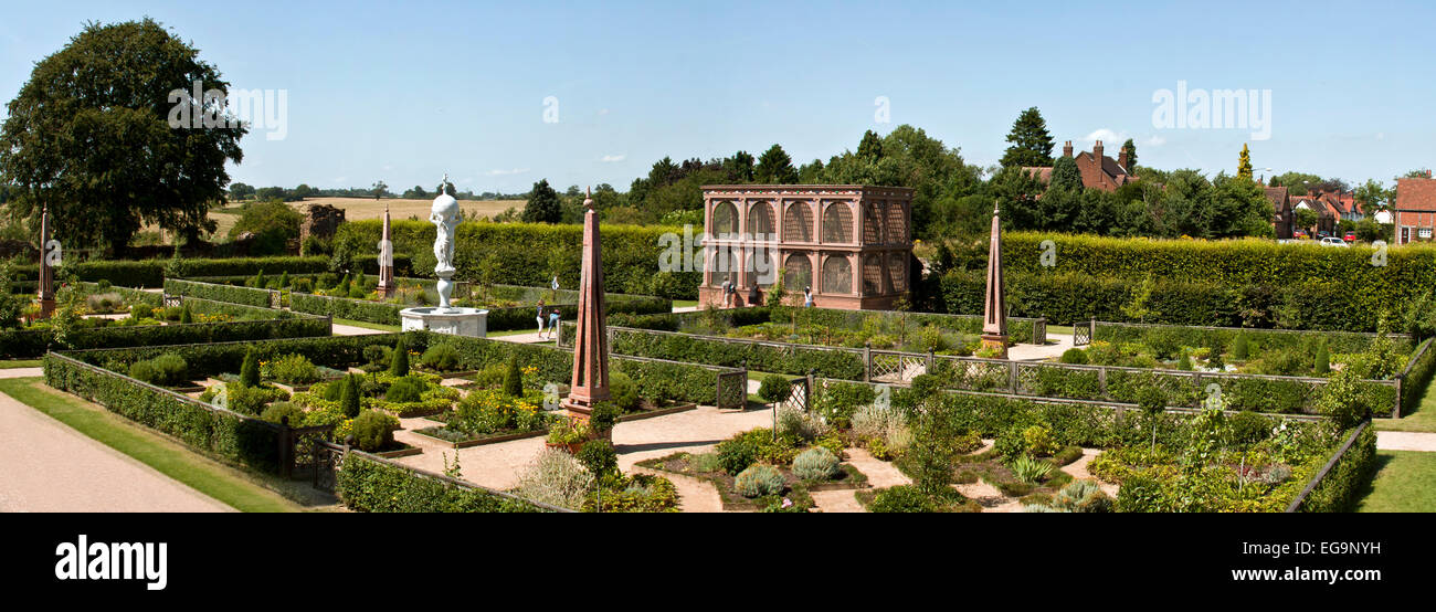 Kenilworth, England-August 1, 2013:Kenilworth Castle and Elizabethan Garden.The ruins are best known as the home - Stock Image