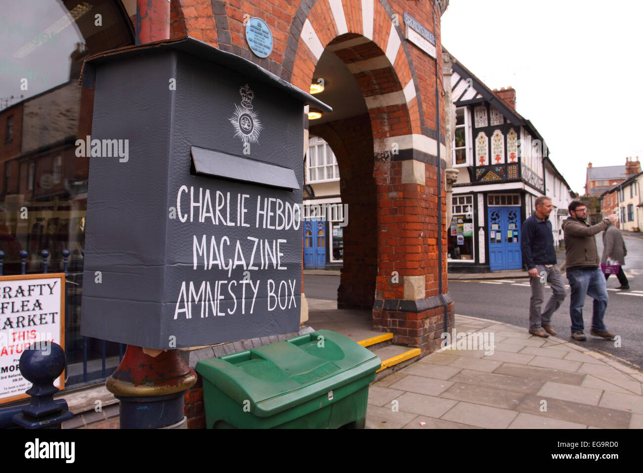 Presteigne, Powys, Wales, UK. 20th February, 2015. A spoof Charlie Hebdo amnesty box has appeared in the mid Wales - Stock Image