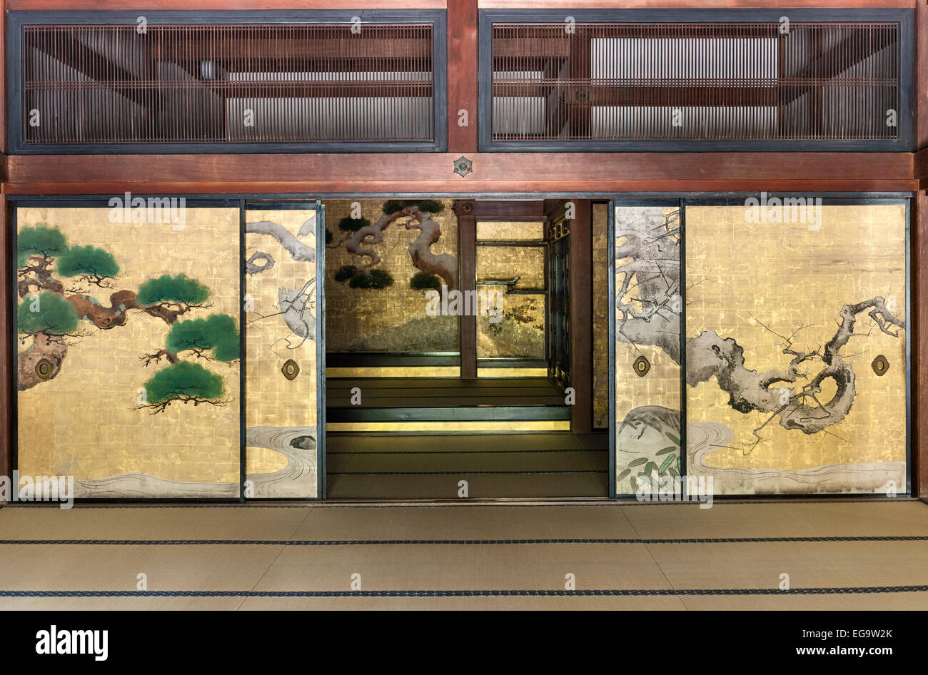 Painted sliding doors (fusuma) in the interior reception room & Kyoto Japan. Konchi-in zen temple. Painted sliding doors (fusuma ...
