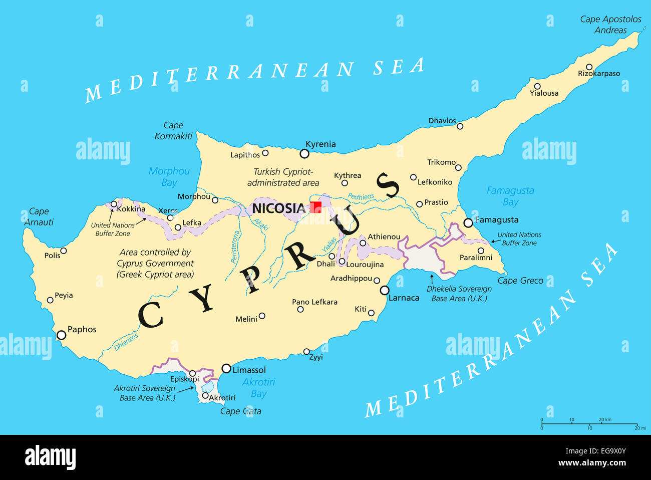 Map of cyprus stock photos map of cyprus stock images alamy cyprus political map with capital nicosia national borders important cities and rivers english gumiabroncs Choice Image