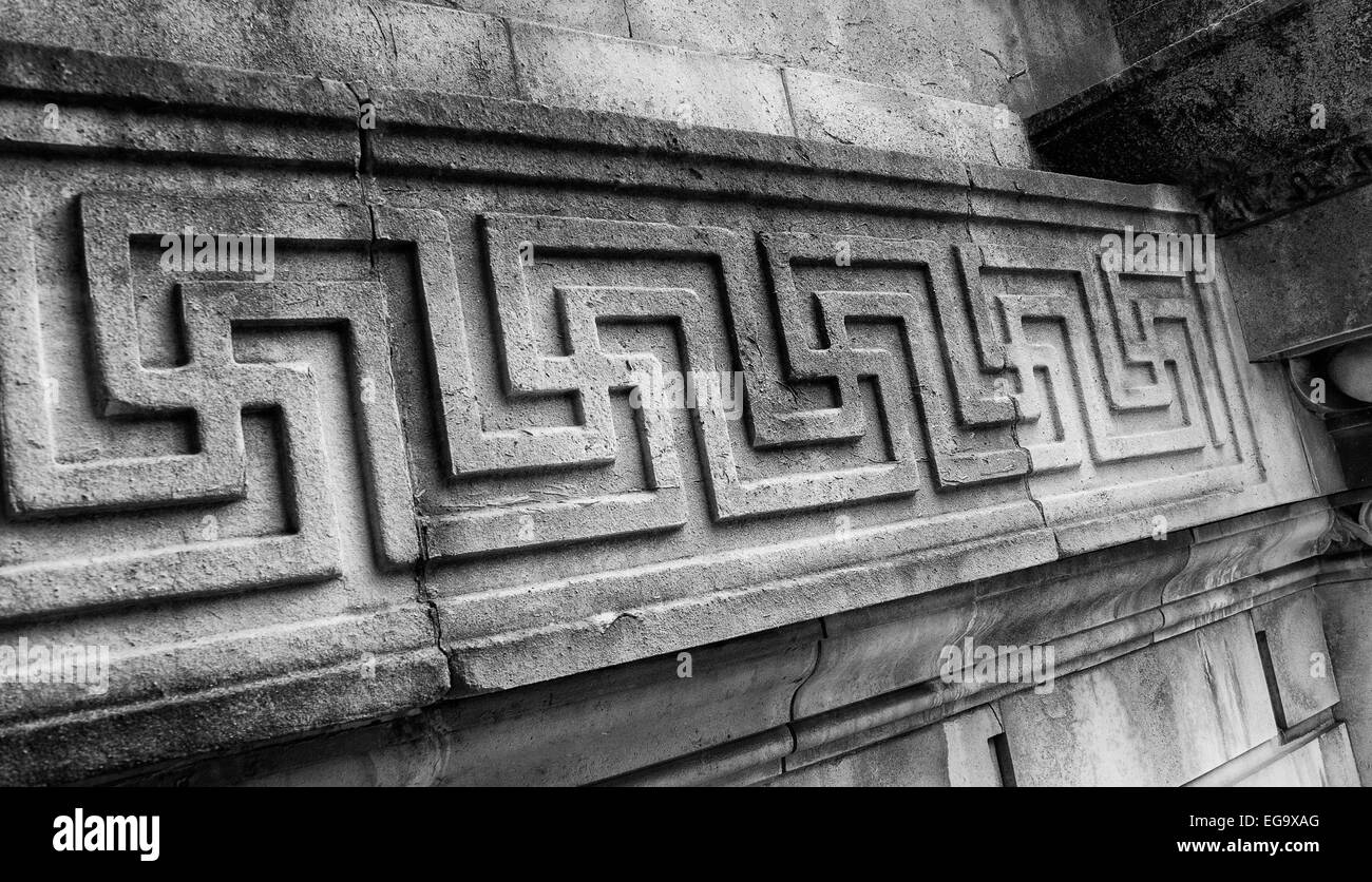 Stone carving with intricate pattern repeating - Stock Image